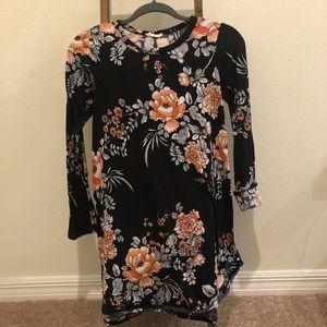 Black Floral Long Sleeve Dress/Tunic